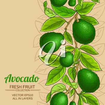 avocado branches vector pattern on color background