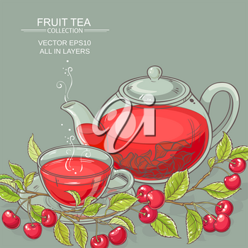 cup of cherry tea and teapot on color background