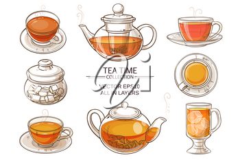 Cup of tea, teapot and sugar bowl vector set on white background