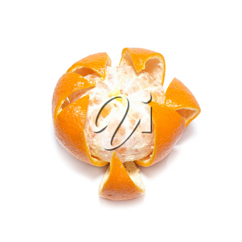 Skined orange mandarin isolated on white.
