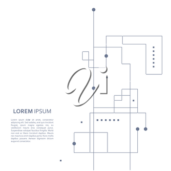 Wireframe element with abstract figure. Connected lines and dots. Vector Illustration.