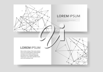 Abstract polygonal geometric shape with molecule structure style. Connect lines and dots cover brochure.