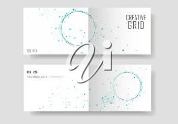 Modern geometric background with connected lines and dots. Business, science, medicine and technology brochure design.