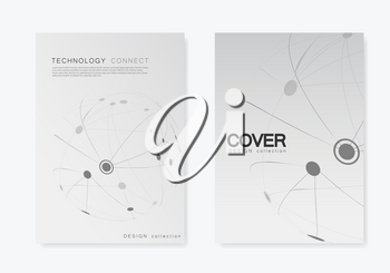 Cover design brochure with connected line and dots. Simple technology compound background.