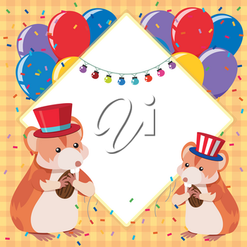Border template with two hamsters and colorful balloons illustration