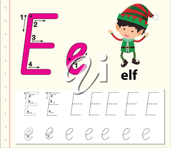 Letter E tracing alphabet worksheets illustration