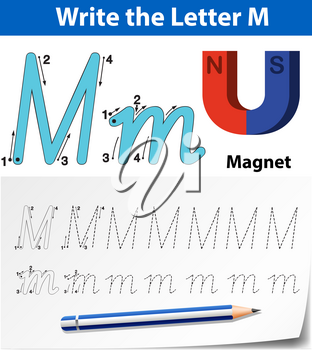 Letter M tracing alphabet worksheets illustration