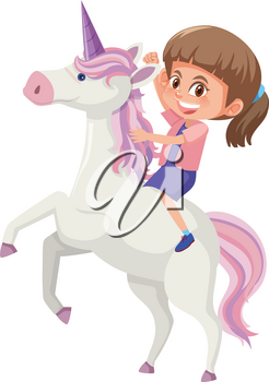 A girl riding unicorn illustration