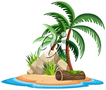 An isolated island on white background illustration