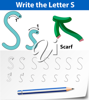 Letter S tracing alphabet worksheets illustration