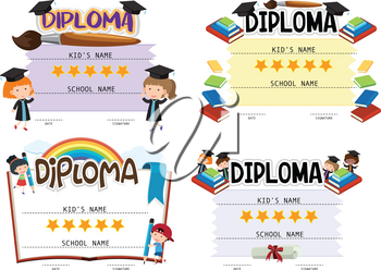Diploma template with kids in background illustration
