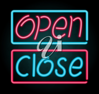 Neon sign for open and close illustration