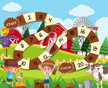 A rural board game template illustration