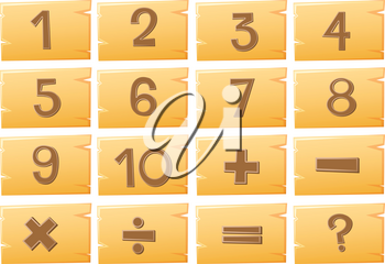 Numbers on wooden boards illustration