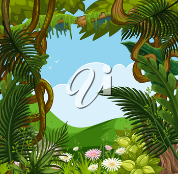 Background scene with flowers and trees in forest illustration