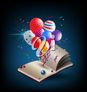 Book with party balloons illustration