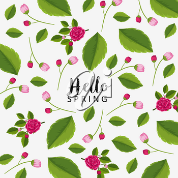Hello spring poster design with pink flowers illustration