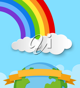Banner template with earth and rainbow in sky illustration