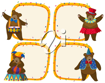 Border template with brown bear in circus illustration