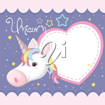 Banner template with purple unicorn illustration