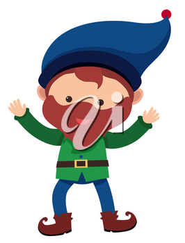 Happy dwarf with blue hat illustration