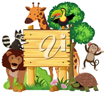 Wooden sign with cute animals in the park illustration