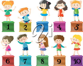 Children and number one to ten illustration