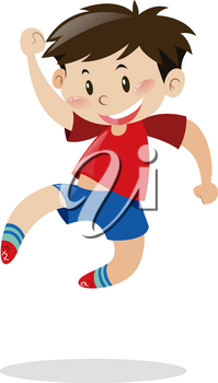 Boy in red shirt jumping up illustration