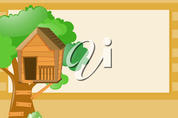Border template with treehouse background illustration