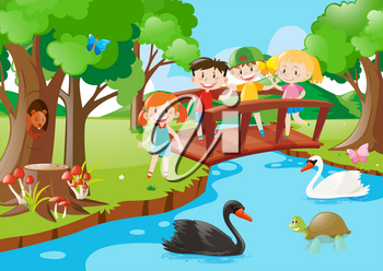 Kids on the bridge and animals in the park illustration