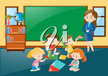 Students folding papercraft in classroom illustration