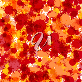 Bright red and orange artistic watercolor paint drops seamless pattern vector