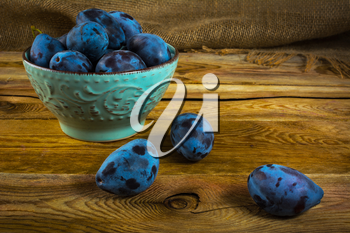 Fruit plums prunes in turquoise cup on old dark wooden background. Selective focus
