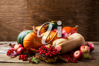 Abundant harvest concept with pumpkins, apples, berries and fall leaves. Thanksgiving background with pumpkins and seasonal berries. Copyspace