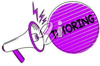 Conceptual hand writing showing Tutoring. Business photo showcasing An act of a person employed to administer knowledge to someone Megaphone loudspeaker scream idea talk grunge speech bubble