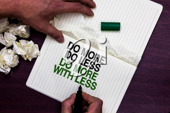 Text sign showing Do More Do Less Do More With Less. Conceptual photo dont work hard work smart be unique Man holding marker notebook page crumpled papers several tries mistakes