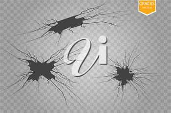 Set of vector cracks isolated on transparent background. eps 10