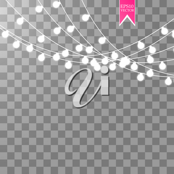Christmas lights isolated on transparent background. Xmas glowing garland. Vector