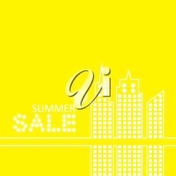Retro Summer Sale Vector Illustration of Abstract Town in Flat Design Style.