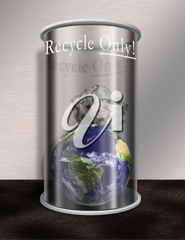 Planet Earth in Recycle Only Waste Basket