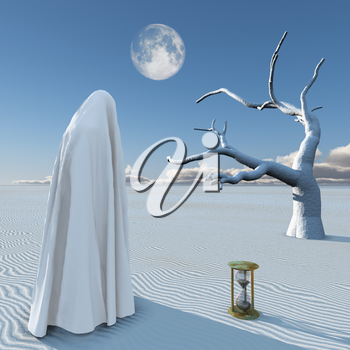 Surreal painting. Figure in white hijab stands at the desert