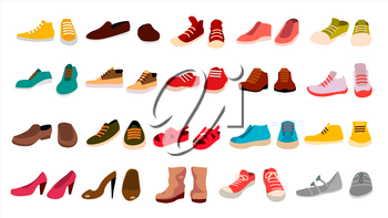 Footwear Set Vector. Fashionable Shoes. Boots. For Man And Woman. Web Icon. Flat Cartoon Isolated Illustration