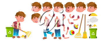 Boy Kindergarten Kid Vector. Animation Creation Set. Face Emotions, Gestures. Preschool, Childhood. Smile. Toys. For Advertisement Greeting Announcement Design Animated Isolated Illustration