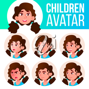 Girl Avatar Set Kid Vector. Primary School. Face Emotions. Facial, People. Cheer, Pretty. Card Advert Head Illustration