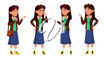 Asian Teen Girl Poses Set Vector. Funny, Friendship. For Advertisement, Greeting, Announcement Design. Isolated Illustration