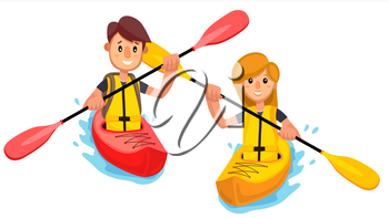 Couple Rides A Kayak Boat On The Lake Vector. Illustration