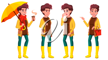 Teen Girl Poses Set Vector. Funny, Friendship. For Advertisement, Greeting, Announcement Design. Isolated Cartoon Illustration
