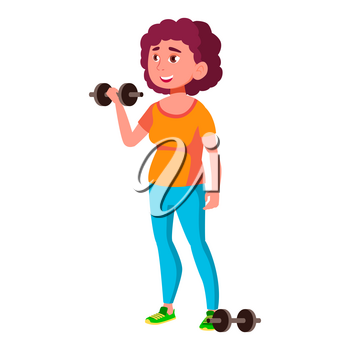 Fat Teen Girl Poses Vector. Emotional, Pose. Diet, Fitness, Health. For Advertising, Placard, Print Design. Isolated Cartoon Illustration