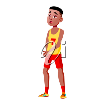 Teen Boy Poses Vector. Black. Afro American. Active, Expression. For Presentation, Print, Invitation Design. Isolated Cartoon Illustration
