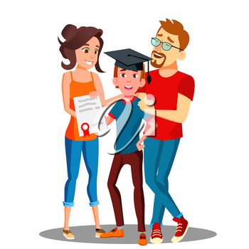 Happy Parents Standing Behind The Student With Diploma And Graduate Cap Vector. Illustration